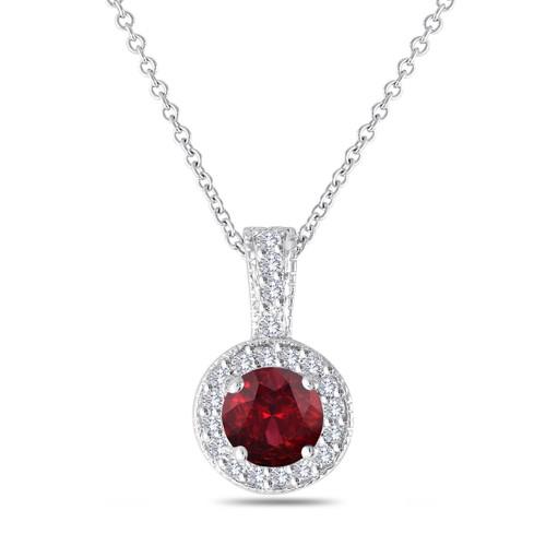 Red Garnet And Diamonds Pendant Necklace 14K White Gold 1.23 Carat Halo Pave Handmade