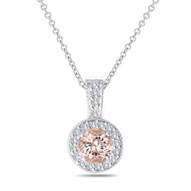 Pink Peach Morganite Pendant Necklace 14K White Gold 1.13 Carat Halo Pave Handmade