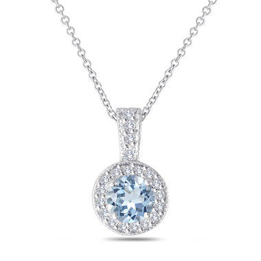 Aquamarine and Diamonds Pendant Necklace 14K White Gold 1.15 Carat Halo Pave Handmade