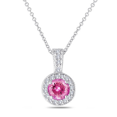 Pink Tourmaline and Diamonds Pendant Necklace 14K White Gold 1.17 Carat Halo Pave Handmade