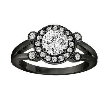 Black Platinum Diamond Engagement Ring 0.96 Carat Halo Pave Certified Vintage Style handmade