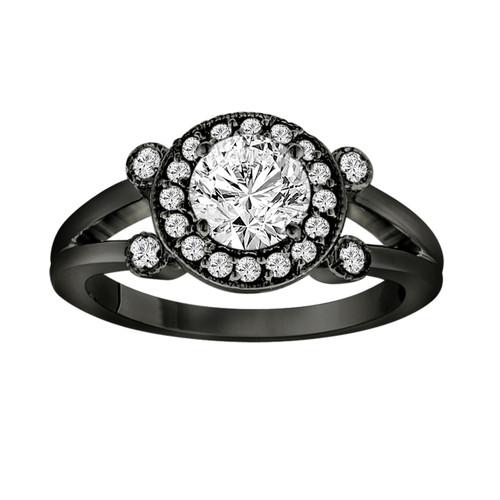Black Platinum Diamond Engagement Ring 0.96 Carat Halo Pave Certified Vintage Style handmade