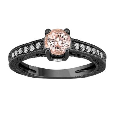 Pink Peach Morganite Engagement Ring 14K Black Gold Vintage Antique Style Engraved 1.05 Carat Certified Handmade