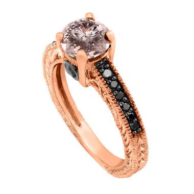 Peach Pink Morganite Engagement Ring Vintage Style 14K Rose Gold 1.01 Carat Pave Set Birthstone Antique Style Engraved Handmade