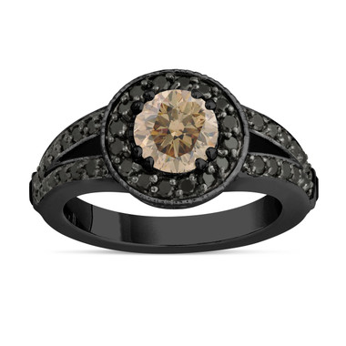 Fancy Champagne Brown Diamond Engagement Ring 14k Black Gold Vintage Style 1.56 Carat Unique Pave Halo Handmade Certified