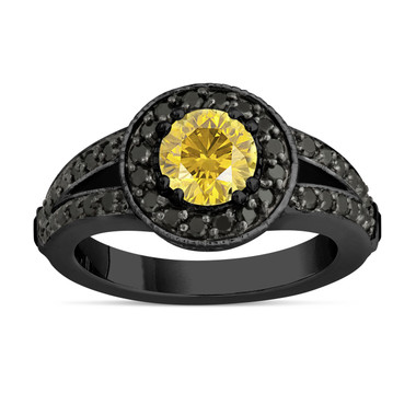 Fancy Yellow Diamond Engagement Ring 14k Black Gold Vintage Style 1.56 Carat Unique Pave Halo Handmade Certified