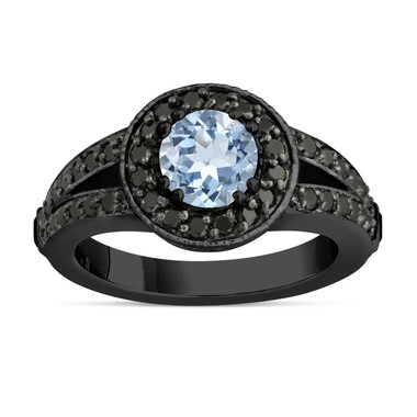 Aquamarine Engagement Ring 14k Black Gold Vintage Style 1.46 Carat Unique Pave Halo Handmade Certified