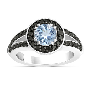 Aquamarine Engagement Ring 14k White Gold 1.46 Carat Unique Pave Halo Handmade Certified