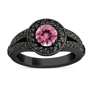 Pink Tourmaline Engagement Ring 14k Black Gold Vintage Style 1.46 Carat Unique Pave Halo Handmade Certified