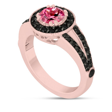 Pink Tourmaline Engagement Ring 14k Rose Gold 1.46 Carat Unique Pave Halo Handmade Certified