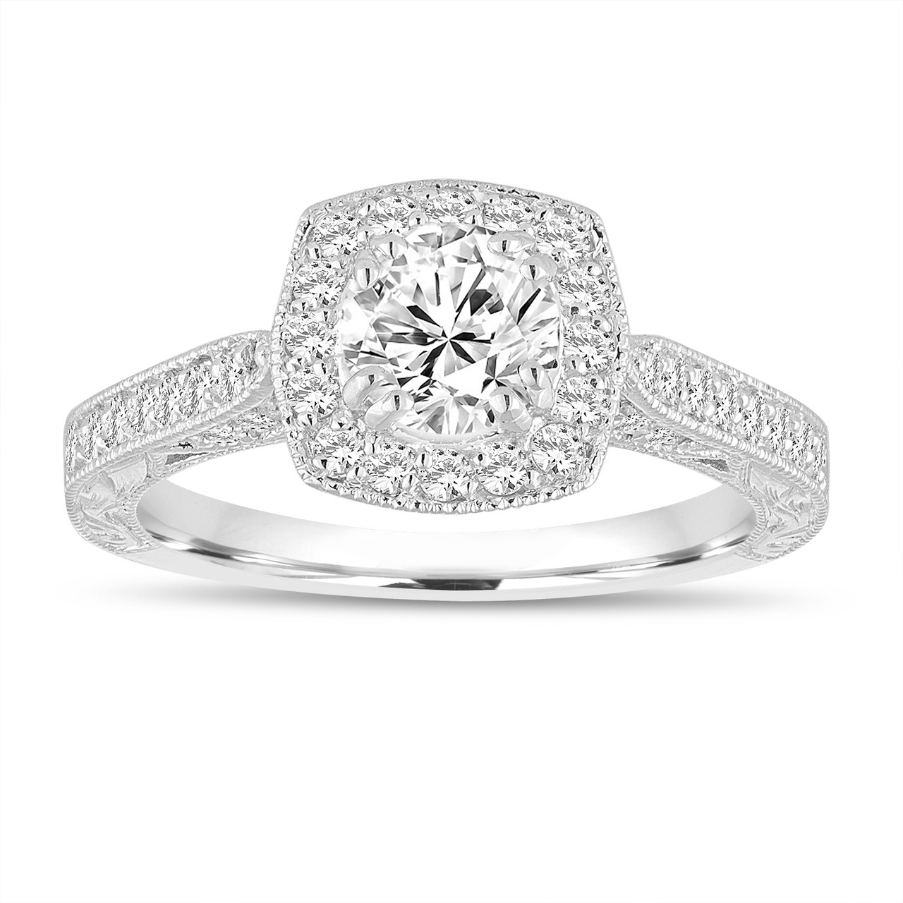 Engagement Rings In Which Hand: Platinum Diamond Engagement Ring, Hand Engraved Vintage