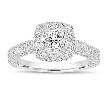 F-SI1 Diamond Engagement Ring 1.15 Carat GIA Certified 14K White Gold Filigree Vintage Antique Style Hand Engraved Halo Pave