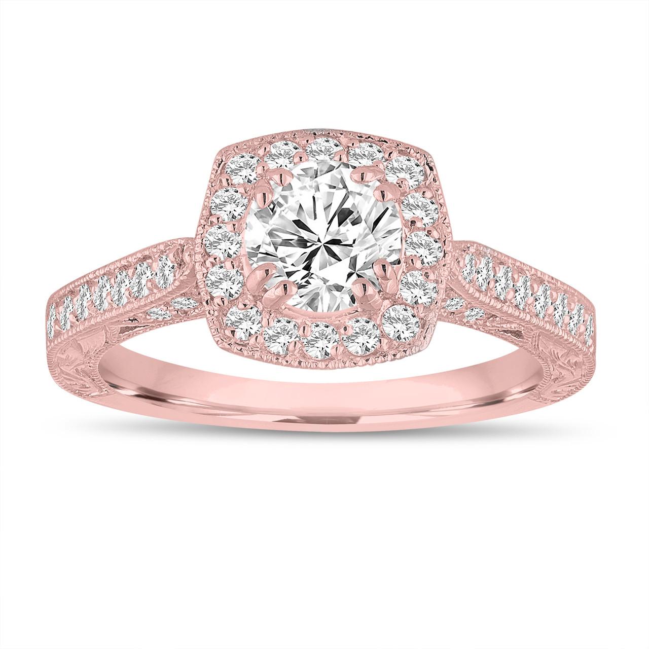 Engagement Rings Vintage Style: GIA Certified FSI1 Diamond Engagement Ring 1.15 Carat 14K