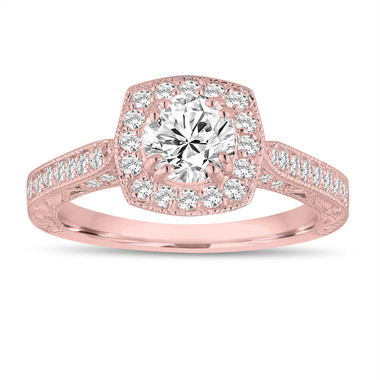 GIA Certified FSI1 Diamond Engagement Ring 1.15 Carat 14K Rose Gold Vintage Antique Style Hand Engraved Halo Pave