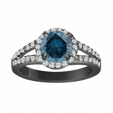 Fancy Blue Diamond Engagement Ring 1.89 Carat 14K Black Gold Vintage Style Certified Handmade Halo Pave