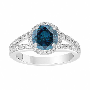Fancy Blue Diamond Engagement Ring 1.87 Carat 14K White Gold Halo Pave Certified Handmade