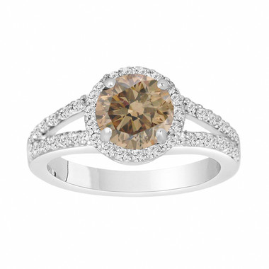 Fancy Brown Champagne Diamond Engagement Ring 1.72 Carat 14k White Gold Handmade Halo Certified