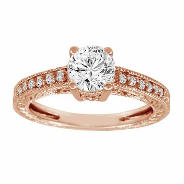 Diamond Filigree Engagement Ring 14K Rose Gold  1.15 Carat Certified Handmade Vintage Style Engraved Pave Set