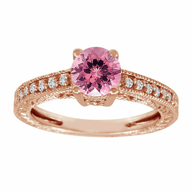 Pink Tourmaline & Diamond Engagement Ring 14K Rose Gold 1.00 Carat Antique Vintage Style Engraved handmade