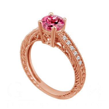 Pink Tourmaline & Diamond Engagement Ring Vintage Style 14K Rose Gold 0.64 Carat Antique Vintage Style Engraved handmade