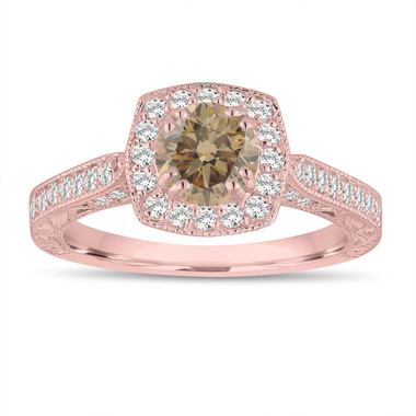 Fancy Champagne Brown Diamond Engagement Ring 1.24 Carat 14K Rose Gold Vintage Antique Style Hand Engraved Halo Pave