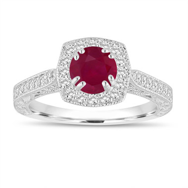 Red Ruby and Diamonds Engagement Ring 1.23 Carat 14K White Gold Vintage Antique Style Hand Engraved Halo Pave