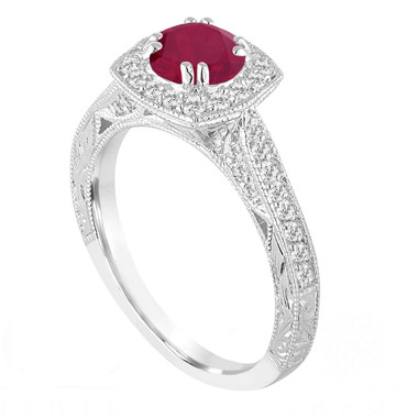 Platinum Red Ruby and Diamonds Engagement Ring 1.32 Carat Vintage Antique Style Hand Engraved Halo Pave