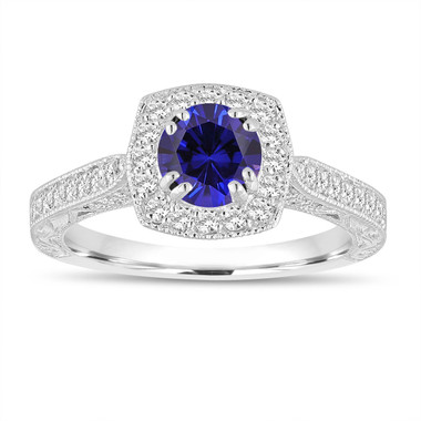 Blue Sapphire And Diamonds Engagement Ring 1.50 Carat 14K White Gold Vintage Antique Style Hand Engraved Halo Pave