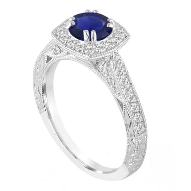 Platinum Blue Sapphire And Diamonds Engagement Ring 1.50 Carat Vintage Antique Style Hand Engraved Halo Pave
