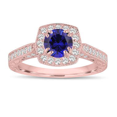Blue Sapphire And Diamonds Engagement Ring 1.50 Carat 14K Rose Gold Vintage Antique Style Hand Engraved Halo Pave