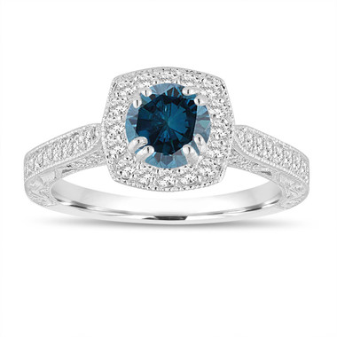 Fancy Blue Diamond Engagement Ring 1.16 Carat 14K White Gold Vintage Antique Style Hand Engraved Halo Pave