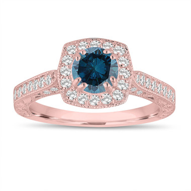 Fancy Blue Diamond Engagement Ring 1.16 Carat 14K Rose Gold Vintage Antique Style Hand Engraved Halo Pave