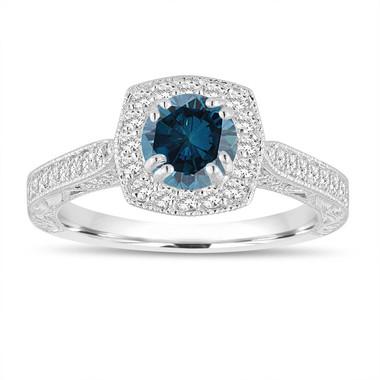 Platinum Fancy Blue Diamond Engagement Ring 1.16 Carat Vintage Antique Style Hand Engraved Halo Pave