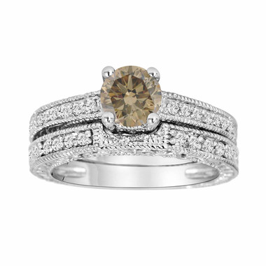 Fancy Cognac Brown Diamond Engagement Ring And Wedding Band Sets 1.12 Carat 14K White Gold Vintage Antique Style Engraved handmade