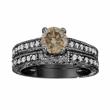 Fancy Brown Cognac Diamond Engagement Ring And Wedding Band Sets 14K Black Gold 0.76 Carat Vintage Antique Style Engraved handmade