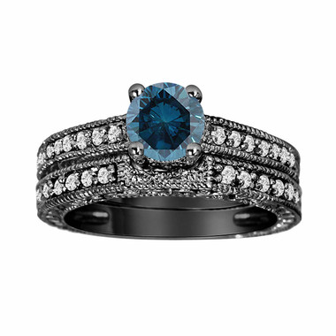 Fancy Blue Diamond Engagement Ring and Wedding Band Sets 14K Black Gold 0.76 Carat Antique Vintage Style Engraved