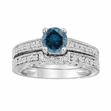 Fancy Blue Diamond Engagement Ring and Wedding Band Sets 14K White Gold 0.76 Carat Antique Vintage Style Engraved