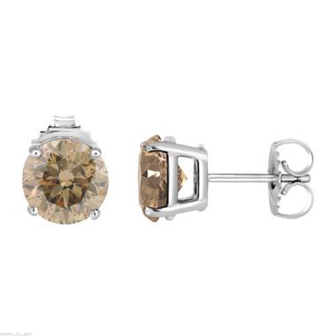 Platinum Fancy Cognac Brown Diamond Stud Earrings 1.42 Carat Handmade Certified
