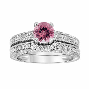 Pink Tourmaline and Diamonds Engagement Ring and Wedding Band Sets 14K White Gold 1.04 Carat Antique Vintage Style Engraved