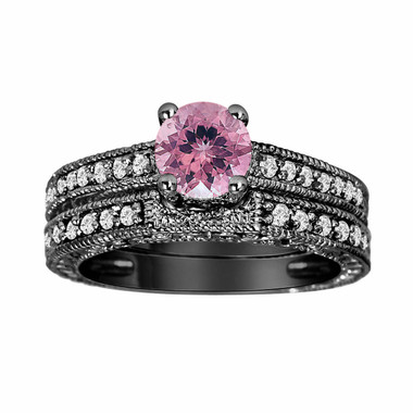 Pink Tourmaline and Diamonds Engagement Ring and Wedding Band Sets 14K Black Gold 1.04 Carat Antique Vintage Style Engraved