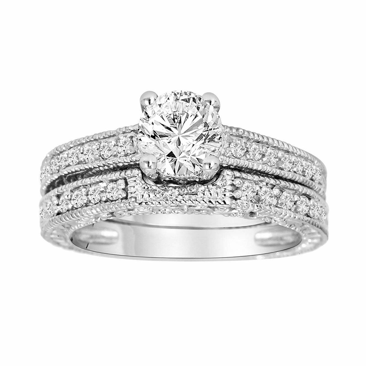 Engagement Rings Vintage Style: Diamond Engagement Ring And Wedding Band Sets 14K White