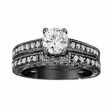 Diamond Engagement Ring And Wedding Band Sets 14K Black Gold 0.76 Carat Vintage Antique Style Engraved handmade