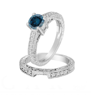 Fancy Blue Diamond Engagement Ring and Wedding Band Sets 14K White Gold 1.26 Carat Antique Vintage Style Engraved