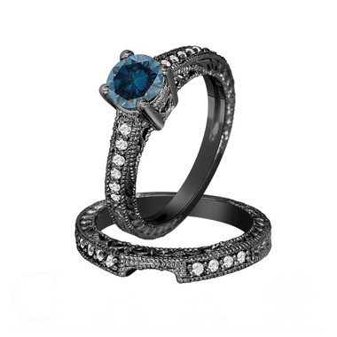 Fancy Blue Diamond Engagement Ring and Wedding Band Sets 14K Black Gold 1.26 Carat Antique Vintage Style Engraved