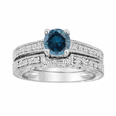 Platinum Fancy Blue Diamond Engagement Ring and Wedding Band Sets 1.26 Carat Antique Vintage Style Engraved