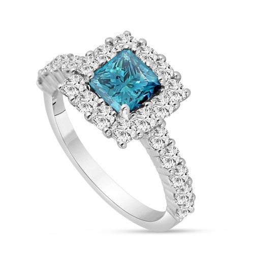 Platinum Princess Cut Fancy Blue Diamond Engagement Ring 2.24 Carat VS2 Handmade