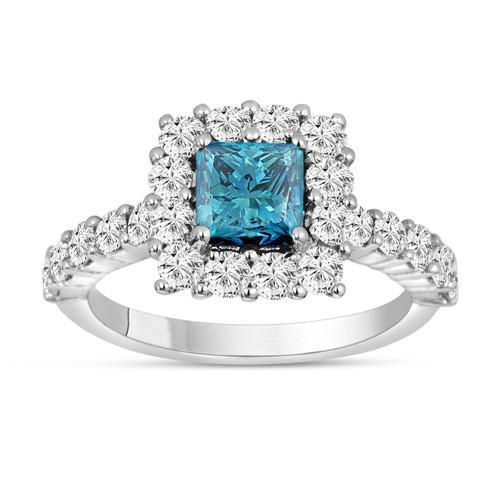 2.24 Carat Princess Cut Fancy Blue Diamond Engagement Ring 14K White Gold Handmade