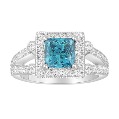 2.07 Carat Princess Cut Fancy Blue Diamond Engagement Ring 14K White Gold Halo Pave Handmade