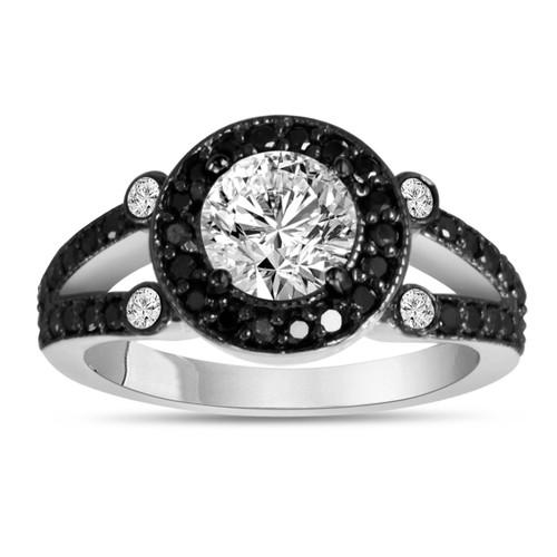 1.23 Carat Diamond Engagement Ring White & Black Diamonds 14k White Gold Unique Halo Pave Handmade