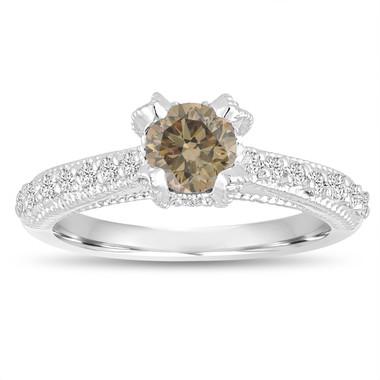 Fancy Champagne Brown Diamond Engagement Ring 0.80 Carat 14K White Gold Handmade Certified